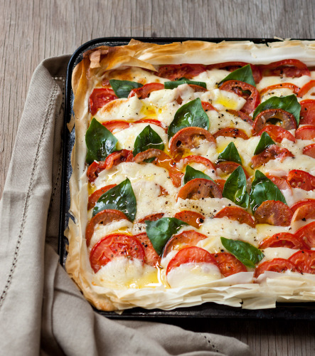 Hot Caprese Tart on Phyllo Pastry